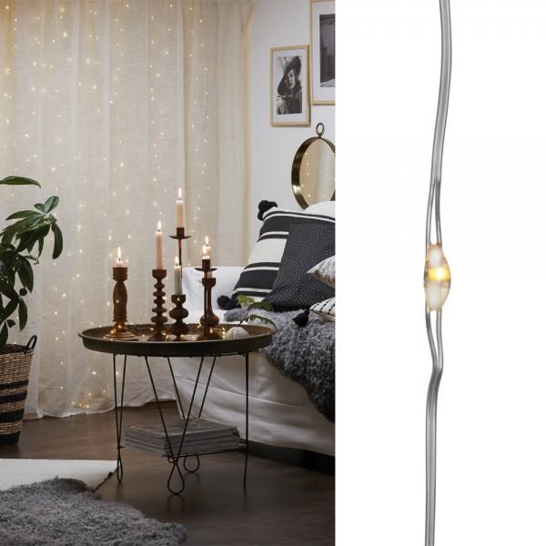 LED-Drahtminilichtervorhänge, DEW DROPS, H 200cm, B 200cm, 200 warmweiße LEDs