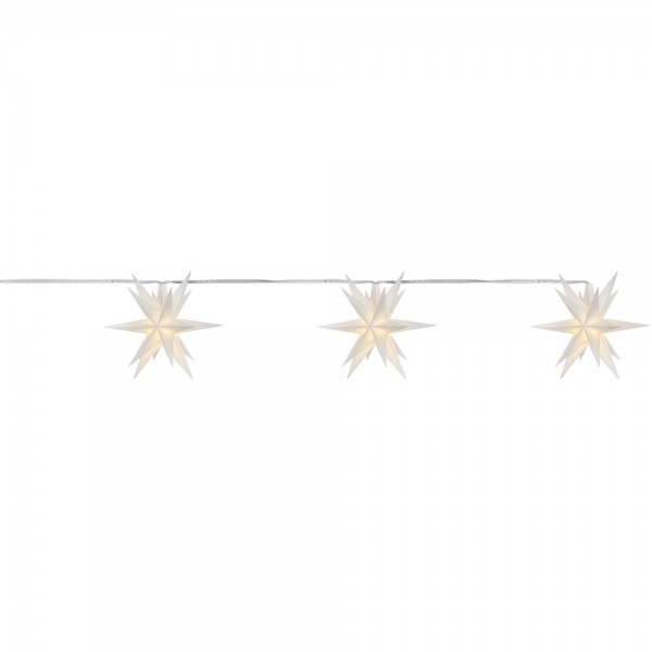LED-Stern, weiß, 3er-Kette, je 1 warmweiße LED, mit Batteriebox, Ø 8cm