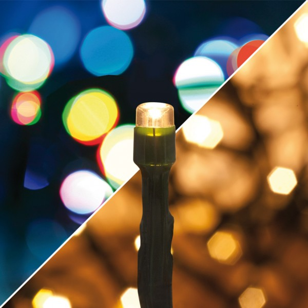 LED-Minilichterkette, 40 warmweiße und multicolor LEDs