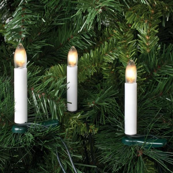 Weihnachtsbaumkette, L 12m, 25 x E10/10V/2,4W, klar/weiß, 8cm Kerzen