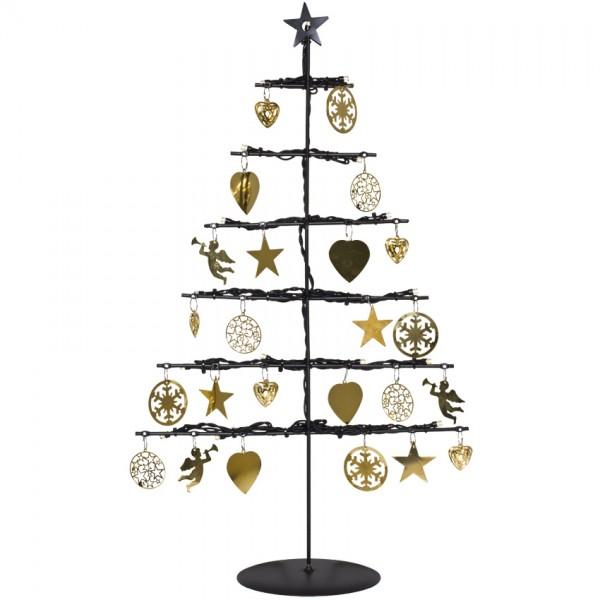 LED-Weihnachtsleuchter, H 45cm, B 26cm, BORKEN, 21 warmweiße LEDs