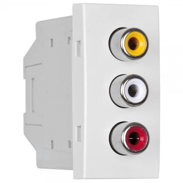EFAPEL® - Modul-Einsatz, 3 x Chinch, Video & Audio L+R, reinweiß
