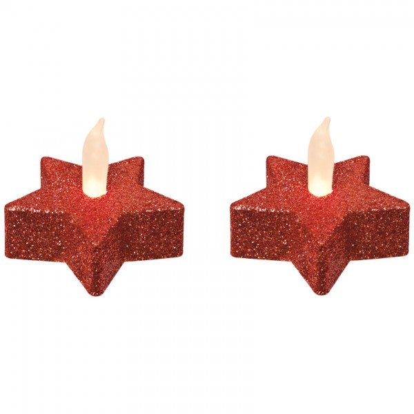 2 LED-Teelichter, je 1 warmweiße LED, rot, H 4,5cm, Ø 5,5cm, batteriebetrieben