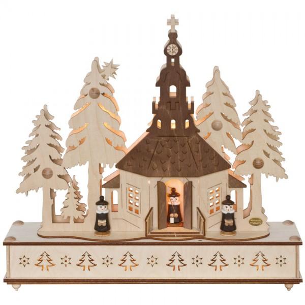 Weihnachtsleuchter, Seiffener Kirche im Wald mit Chor, 7 x E10/34V/5W