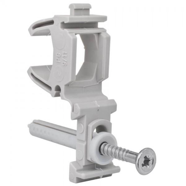 Rohrschelle SCO, anreihbar, mit montiertem Nageldübel, für Rohr-Ø 16-19 mm