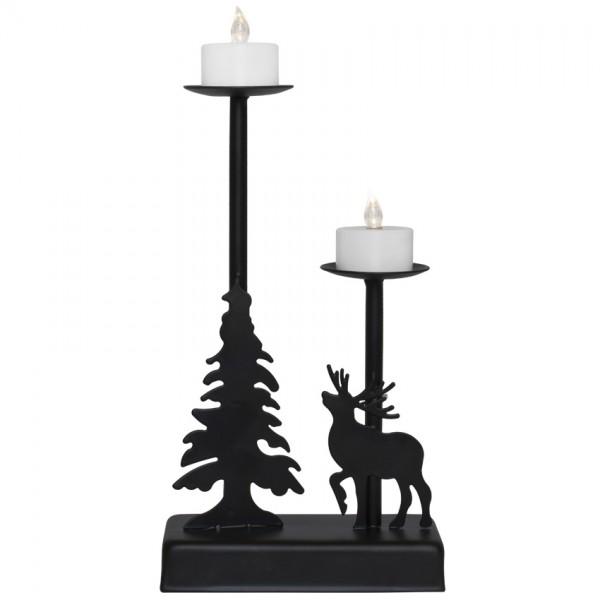 Weihnachtsleuchter, WALDER, schwarz, 2 warmweiße LEDs