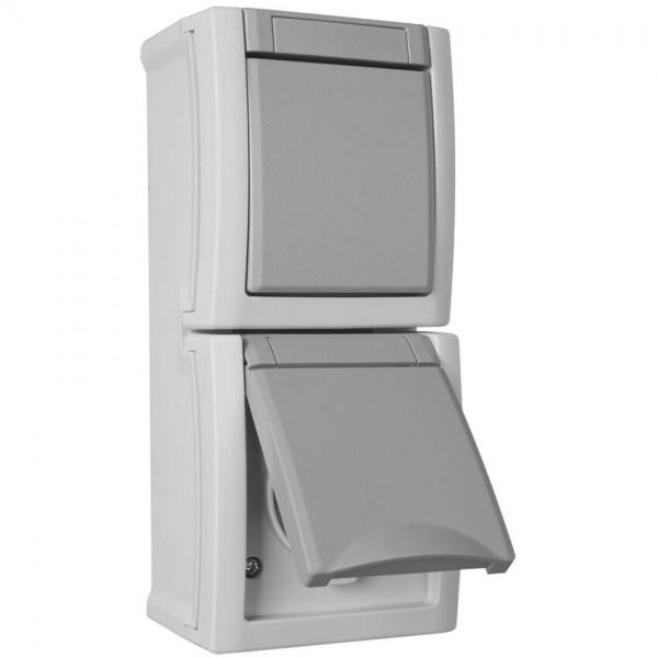 Panasonic® - AP/FR - PACIFIC - grau/dunkelgrau - Wechsel-Schalter/Steckdose, senkrecht
