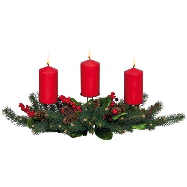 geschmücktes Adventsgesteck, B 70cm, für 3 Kerzen