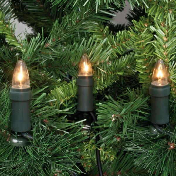 Weihnachtsbaumkette, klar/grün, L 12,6m, 15x E10-16V-3W mit teilbarem Stecker