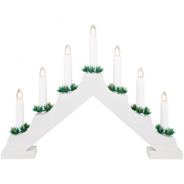 Weihnachtsleuchter, Holz weiß, 7 warmweiße LEDs, batteriebetrieben