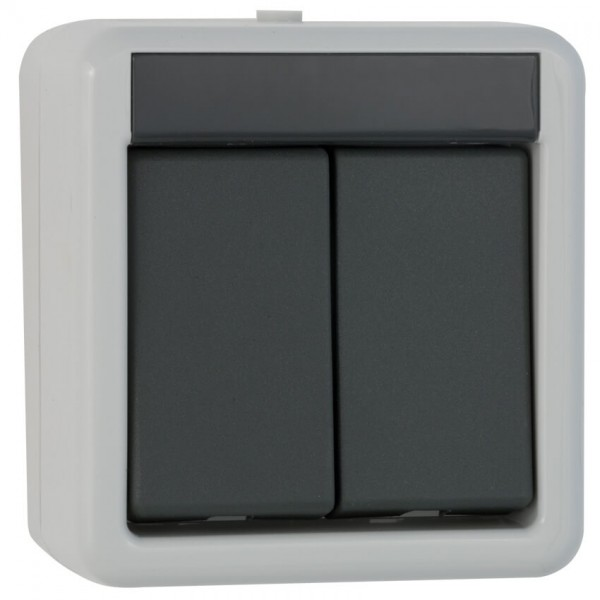 GIRA® - Serien-Schalter, AP/FR, grau/dunkelgrau-010530