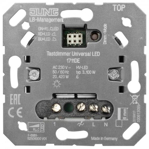 JUNG® - UP - LED-Universal-Tastdimmer, 20-420W, HV-LED 3-100W, Phasenan- und abschnitt