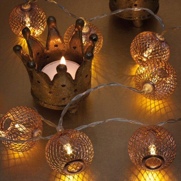 LED-Minilichterkette, Metallbälle kupfer, L 90cm, 10 warmweiße LEDs