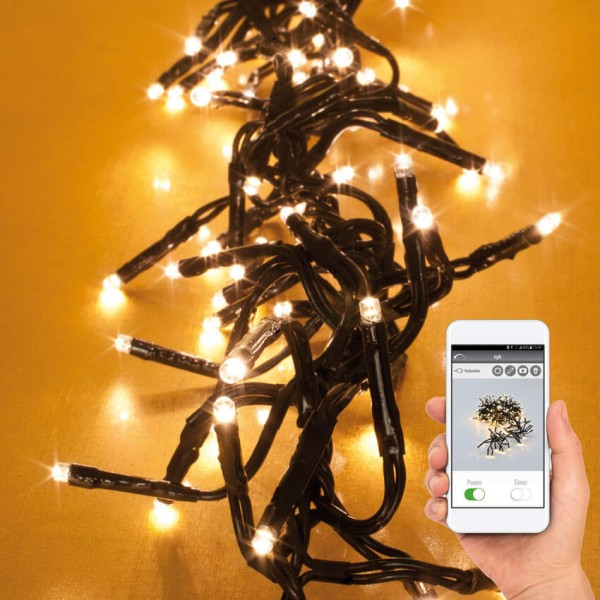 3,5m LED-Clusterlightketten mit App-Control, 576 warmweiße LEDs