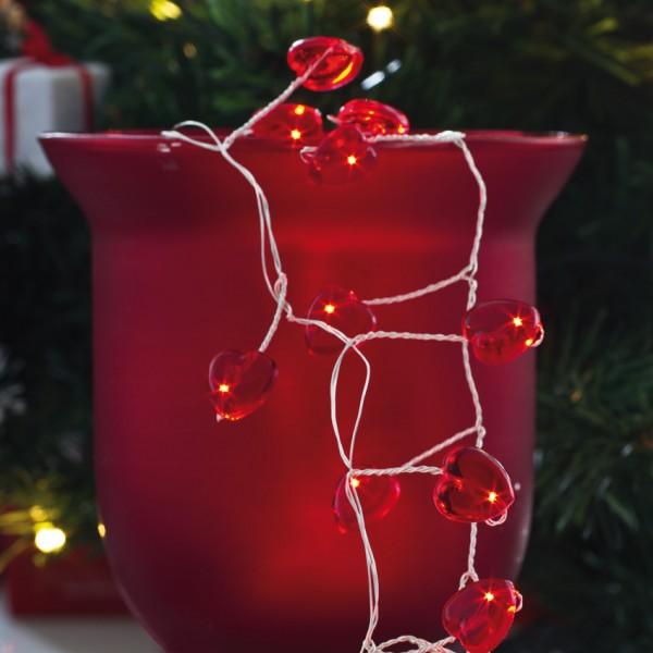 LED-Minilichterkette, rote Herzen, L 180cm, 72 rote LEDs