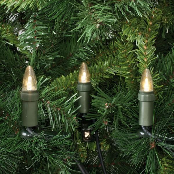 LED-Weihnachtsbaumkette, klar/grün, L 12,6m, 15x LED-E10-3V-0,1W, mit teilbarem Stecker