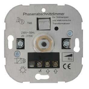 Dimmer-Einsatz UP Phasenabschnitt Druck-Wechselschalter AGL 20-500VA