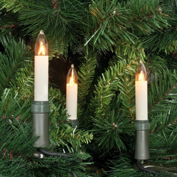 Weihnachtsbaumkette, klar/elfenbein, L 26m, 30x E10-8V-3W, mit teilbarem Stecker