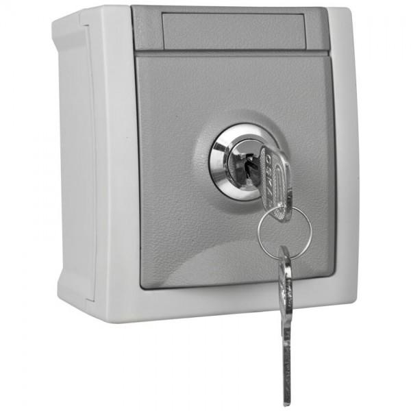 Panasonic® - AP/FR - PACIFIC - grau/dunkelgrau - Steckdose, 1-fach, abschließbar, Schließung 1