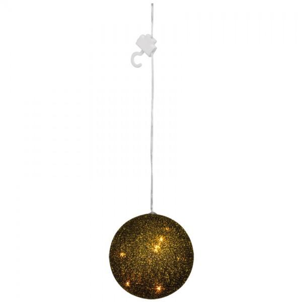 LED-Kugel, gold-schwarz, 5 warmweiße LEDs, Ø 10cm