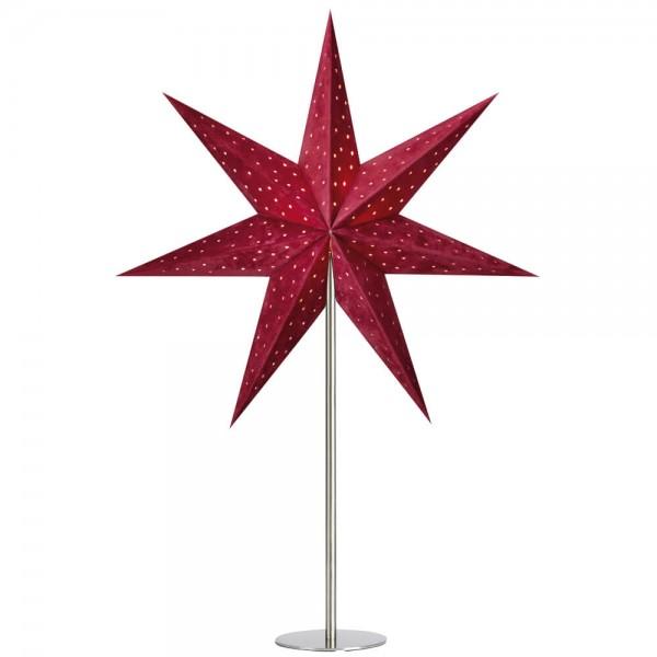 Weihnachtsstern, VELOURS, rot, H 62cm, Ø 45cm, 1 x E14/25W, samtbezogen