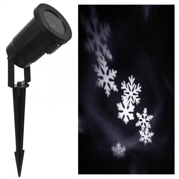 LED-Projektor, weiße rotierende Schneeflocken