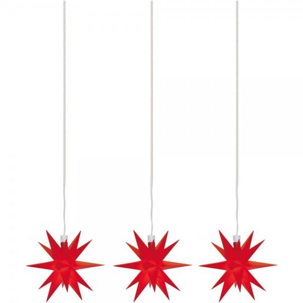 LED-Sterne rot, 3er-Kette, je 1 warmweiße LED, mit Batteriebox, Ø 12cm