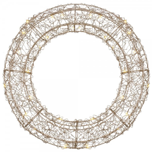 LED-Drahtkranz, roségold, Ø 38cm, 30 warmweiße LEDs, batteriebetrieben