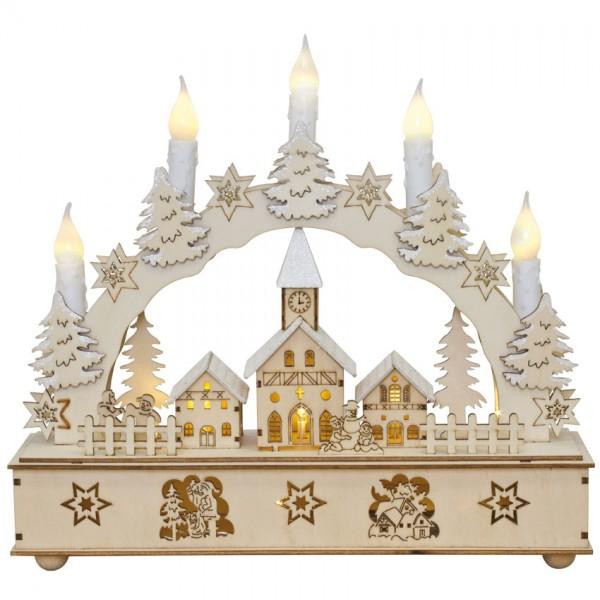 Weihnachtsleuchter, Winterdorf, 12 warmweiße LEDs