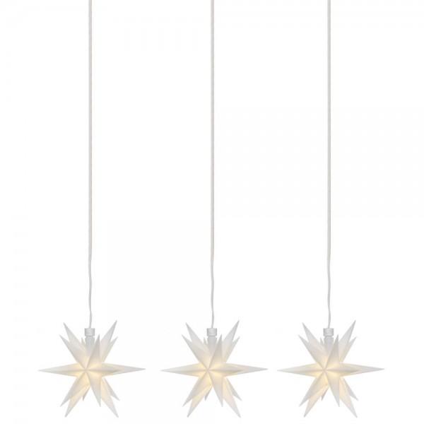 LED-Sterne weiß, 3er-Kette, je 1 warmweiße LED, mit Batteriebox, Ø 12cm