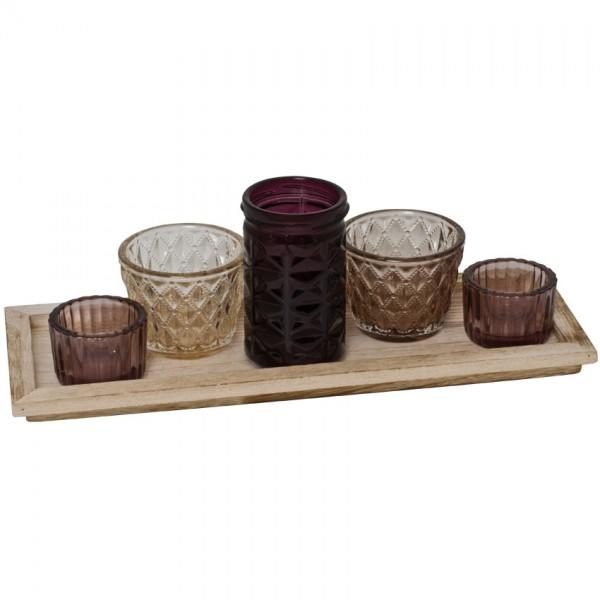 Teelichthalter, 5er-Set, für Teelichter, Glas mit Holztablett