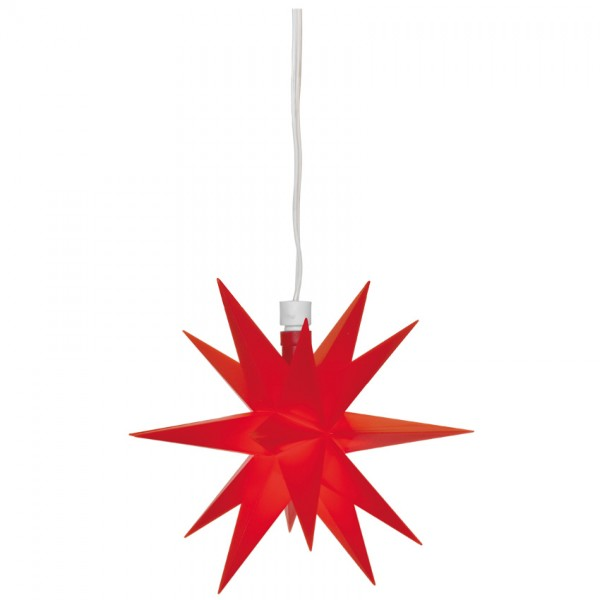 LED-Stern, rot, , Ø 12cm, 1 warmweiße LED, mit Trafo