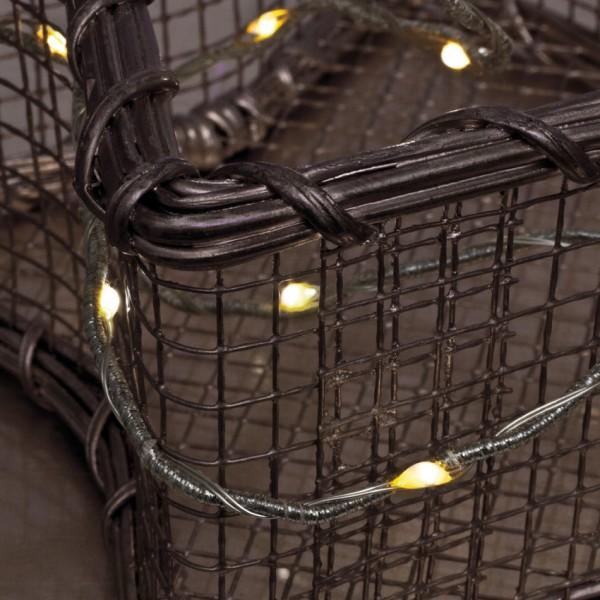 LED-Minilichterkette, silberfarben, L 100cm, 20 warmweiße LEDs, batteriebetrieben