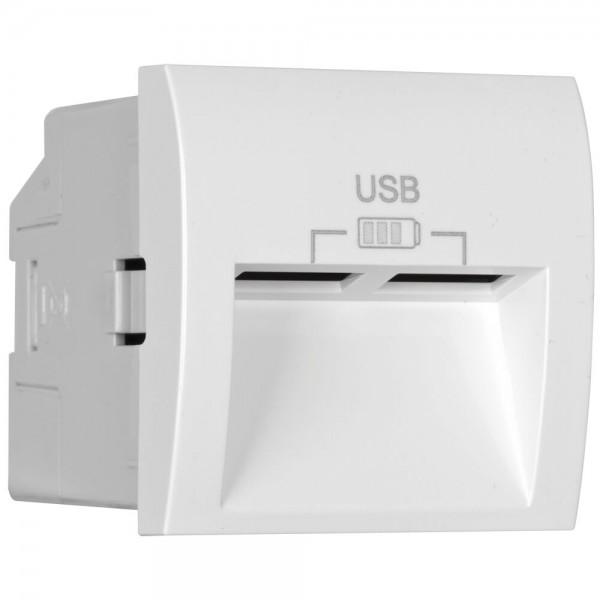 EFAPEL® - Modul-Einsatz, USB-Ladegerät, 2 x USB-Ausgang 5V/2,4A, Abgang 20°, Modul 45 x 45