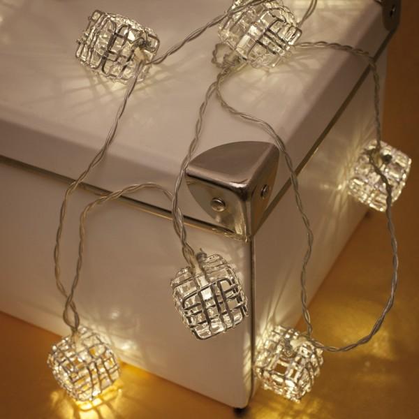 LED-Minilichterkette, L 135cm, Metallquadrate, 10 warmweiße LEDs, batteriebetrieben