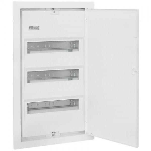 UP-Kleinverteiler mit Stahlblechtür, weiß, 3-reihig für 42 Module