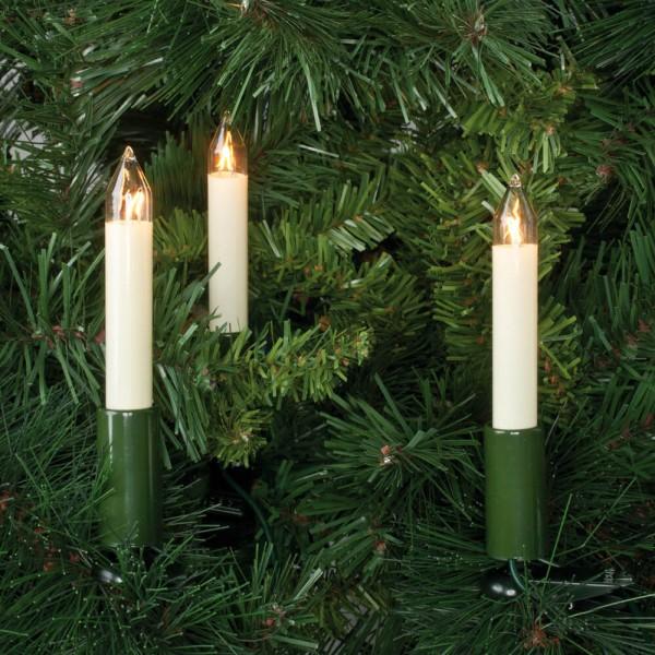 Weihnachtsbaumkette, L 7,5m, 16 x E10/16V/3W, klar/elfenbeinfarben, 12cm Kerzen