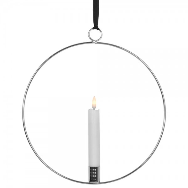 LED-Fensterbild, FLAMME RING, silber, 1 warmweiße flackernde LED, batteriebetrieben