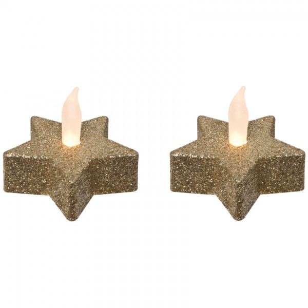 2 LED-Teelichter, je 1 warmweiße LED, gold, H 4,5cm, Ø 5,5cm, batteriebetrieben