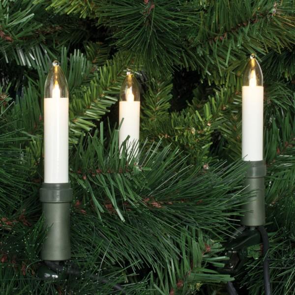 LED-Weihnachtsbaumkette, klar/elfenbein, L 12,6m, 15x LED-E10-8V-0,1W, mit teilbarem Stecker