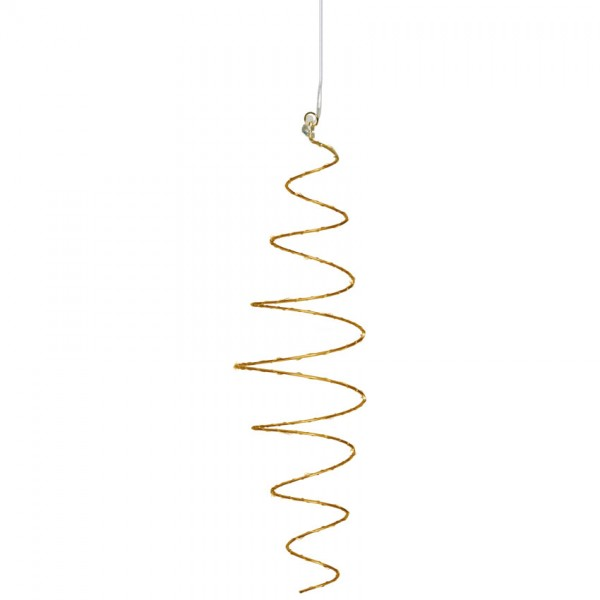 Pendelleuchte, gold, LED-Spirale, 25 warmweiße LEDs