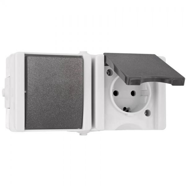 KOPP® - AP/FR - proAQA® - grau/hellgrau - Wechsel-Schalter/Steckdose, waagerecht