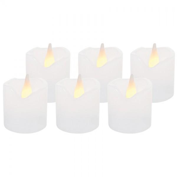 6 LED-Echtwachskerzen, weiß, je 1 LED, H 4,2cm, Ø 4cm, batteriebetrieben