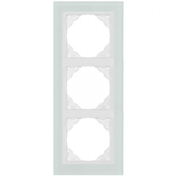 EFAPEL® - 3-fach Glas-Abdeckrahmen, LOGUS 90, Glas weiß, Kunststoff signalweiß