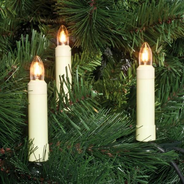Weihnachtsbaumkette, klar/weiß, L 26m, 30x E10-8V-3W, mit teilbarem Stecker