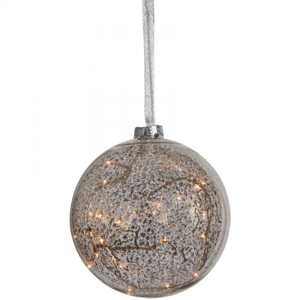 LED-Glaskugel, ARGENT, Ø 12cm, 8 warmweiße LEDs