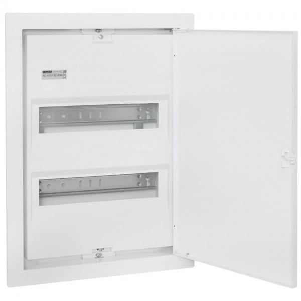 UP-Kleinverteiler mit Stahlblechtür, weiß, 2-reihig für 28 Module