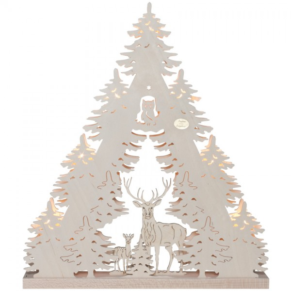 Original Erzgebirge Weihnachtsleuchter Rehe und Hirsch, 7 x E10/34V/3W