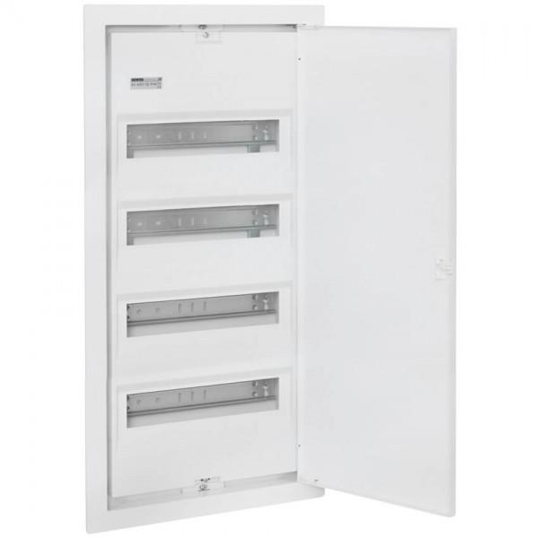 UP-Kleinverteiler mit Stahlblechtür, weiß, 4-reihig für 56 Module