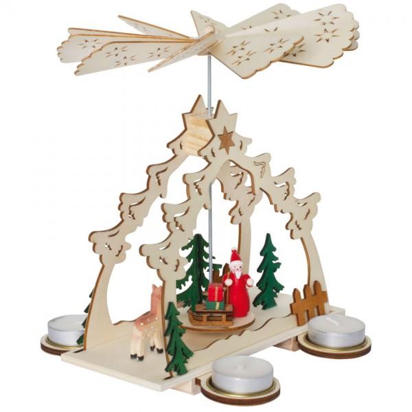 Weihnachtspyramide, Weihnachtsmann und Reh im Wald, für 4 Teelichter